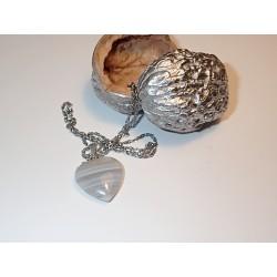 Srdce kámen Achát šedý na...